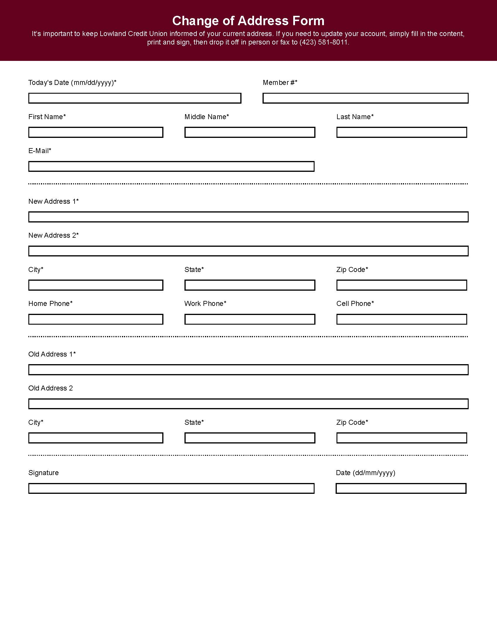 Print Change Of Address Form microsoft word cv template free – Dmv Change of Address Forms